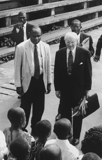 President Hinckley with Saints in Africa