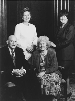 President Hunter with wife and daughters