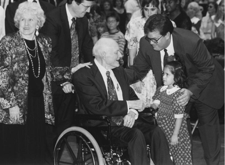 President Hunter in wheelchair