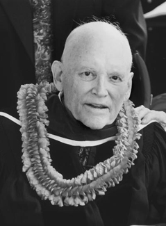 President Hunter wearing lei