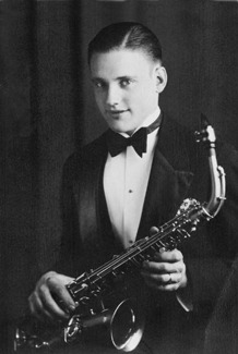 Howard W. Hunter with saxaphone