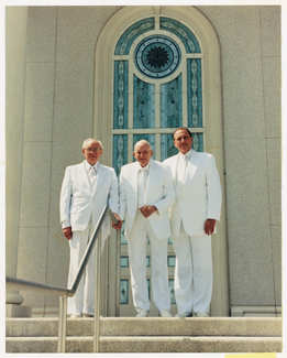 First Presidency in white suits