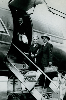 Elder and Sister Kimball boarding plane