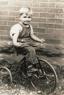 Thomas S. Monson on bicycle