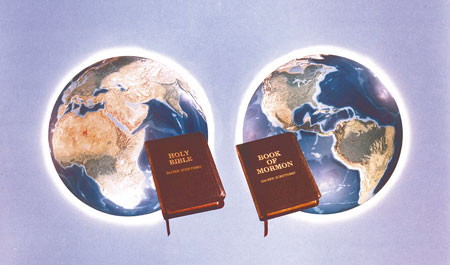 eastern hemisphere with Bible, western with Book of Mormon