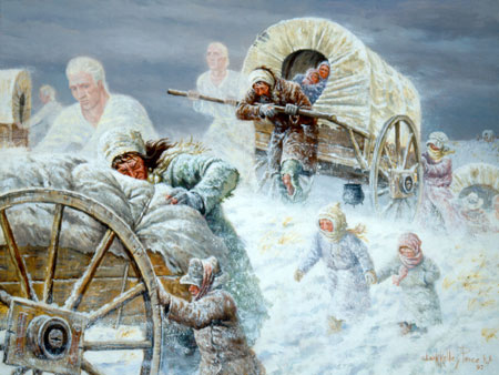 pioneers and angels in snow