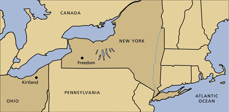 map, New York and Ohio