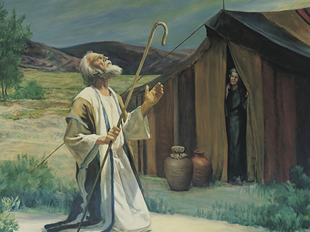 Abraham kneeling in front of tent