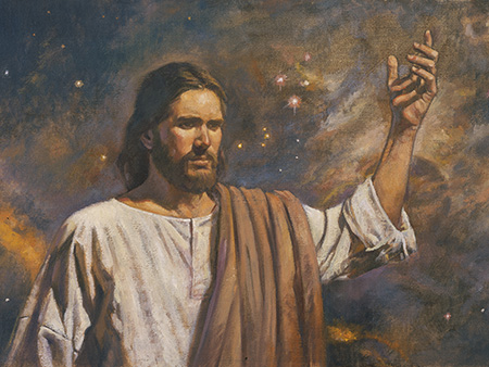 Christ and starry sky