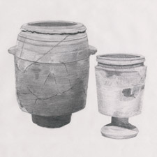 drawing of limestone pots