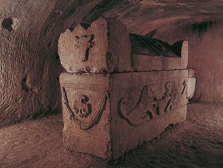 sarcophagus in catacomb