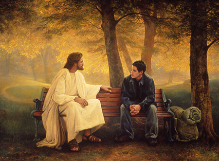 Christ with teen boy