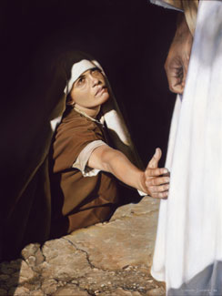 woman touching Christ's robe