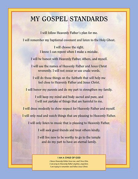 My Gospel Standards poster