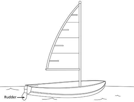 drawing, boat and rudder