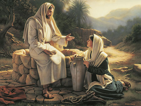 Jesus and woman at well