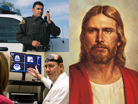 uniformed police officer, doctor showing x-rays, Lord Jesus Christ
