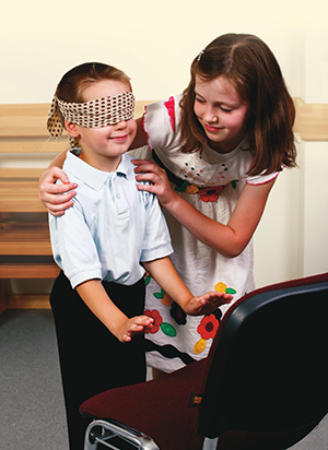 blindfolded child