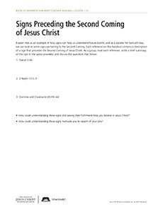 handout, Signs Preceding the Second Coming