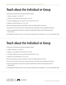 handout, Teach about the Individual or Group
