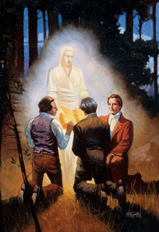angel showing gold plates to Joseph Smith, Oliver Cowdery, David Whitmer