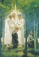 Peter, James, and John conferring the Melchizedek Priesthood on Joseph Smith and Oliver Cowdery