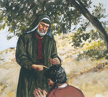 Samuel annointing Saul