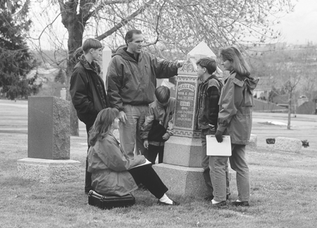 Family at grave
