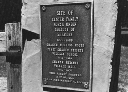 plaque at Shaker historic site