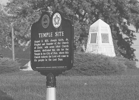 historic plaque at temple site