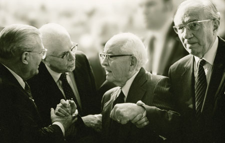 Spencer W. Kimball, with President Gordon B. Hinckley