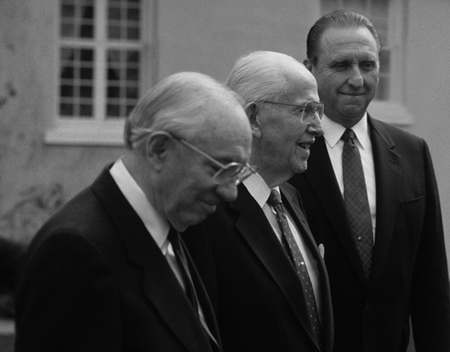 Presidents Gordon B. Hinkley, Ezra Taft Benson and Thomas S. Monson.