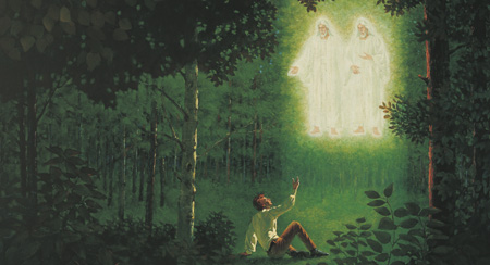 The father and the Son appeared to Joseph Smith in 1830, ushering in the restoration of the gospel.