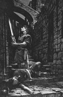 Nephi with sword of Laban