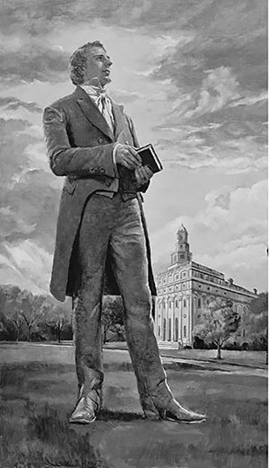 Prophet Joseph Smith in front of Nauvoo Temple