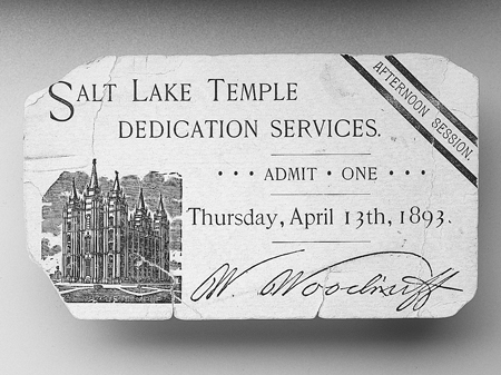 Ticket to temple dedication