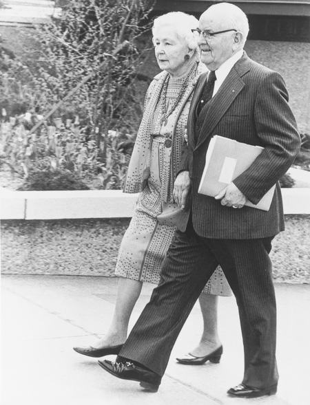 President and sister Kimball walking