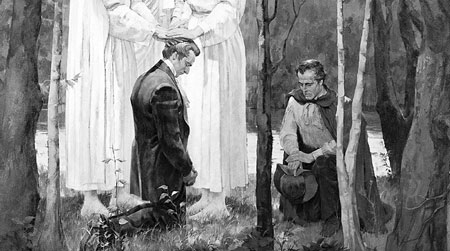 Joseph Smith and Oliver Cowdery recieving the Melchizedek Priesthood