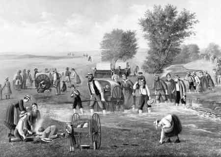 pioneers traveling with handcarts