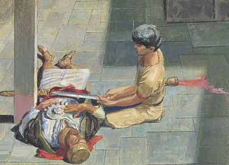 Nephi taking Laban's sword