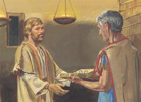 Nephi giving plates to Jacob