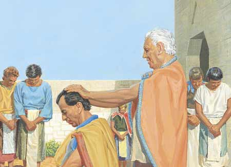 King Benjamin blessing Mosiah