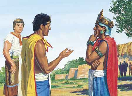King Lamoni talking with king of Middoni