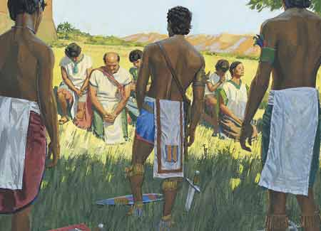 Lamanites standing around people of Ammon