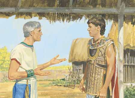 Moroni talking with governor