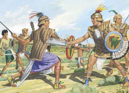 Nephites and Lamanites battling