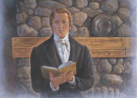 Joseph Smith holding scriptures
