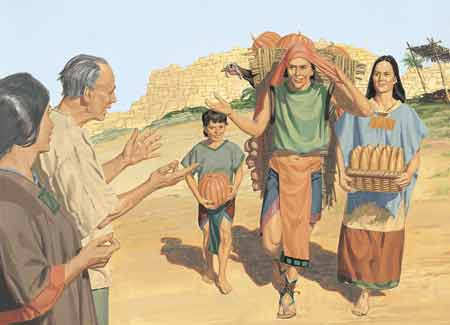 Nephites carrying pumpkins