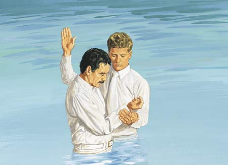 man getting baptized