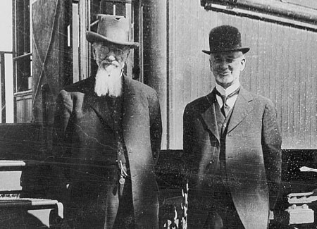 President Joseph F. Smith and Presiding Bishop Charles W. Nibley at a railroad stop